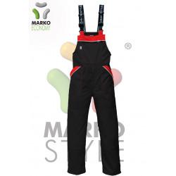 Pracovní kalhoty s laclem, vínová + černá, řada ECONOMY