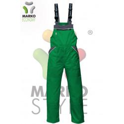 Pracovní kalhoty s laclem, světle zelená + tmavě šedá, řada ECONOMY