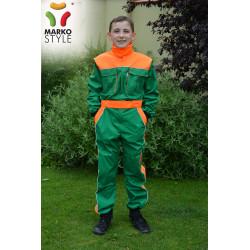 Pracovní kombinéza JUNIOR, zelená + reflexní oranžová