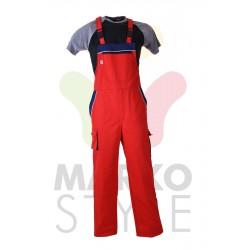 Pracovní kalhoty s laclem,červené