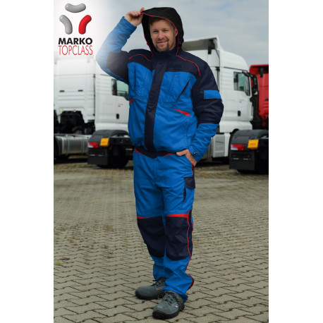 Pracovní zimní bunda s kapucí, tmavě modrá, řada TOP CLASS - na zakázku!