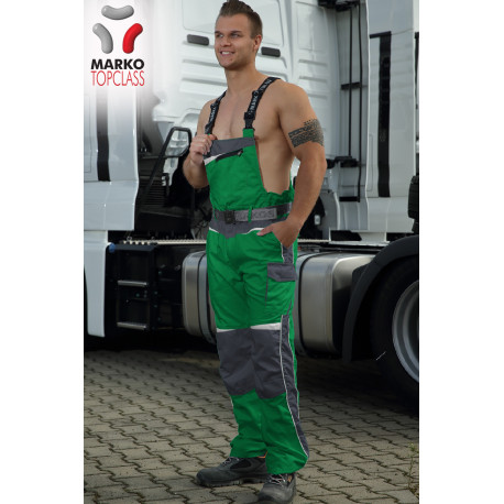 Pracovní kalhoty s laclem, světle zelené, řada TOP CLASS - na zakázku!