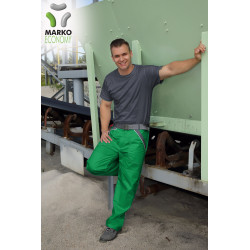 Pracovní kalhoty do pásku, světle zelená + tmavě šedá, řada ECONOMY