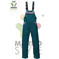 Pracovní kalhoty s laclem, zelená petrolej + světle šedá, řada ECONOMY