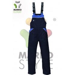 Pracovní kalhoty s laclem, tmavě modrá + modrá, řada ECONOMY