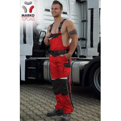 Pracovní kalhoty s laclem,  červená + černá, řada TOP CLASS